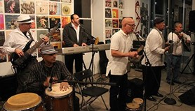 Henry Rosado (third from the right) and Grupo Boricua performing at La Casita in 2017.